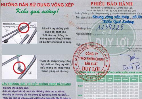 phiếu bảo hành chính hãng võng xếp Duy Lợi tại TPHCM