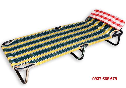 giường xếp gấp gọn bằng vải bố